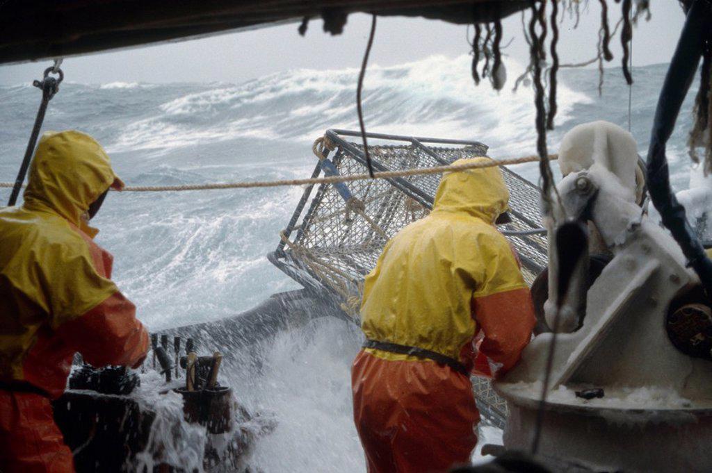 Fisherman Working on Deck in 50 Knot Winds Bering Sea AK /nOpilio Crab Season F/V Erla N : Stock Photo