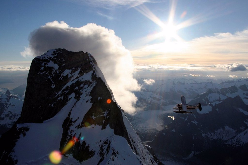 Stock Photo: 4289-26291 Aerial view of a DeHavilland Beaver float plane near Devil´s Thumb in the Alaska Coast Range, Southeast, Alaska