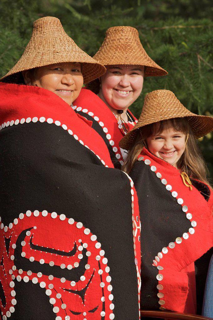 Portrait of Tlingit women wearing a traditional Chilkat button blanket, Alaska : Stock Photo