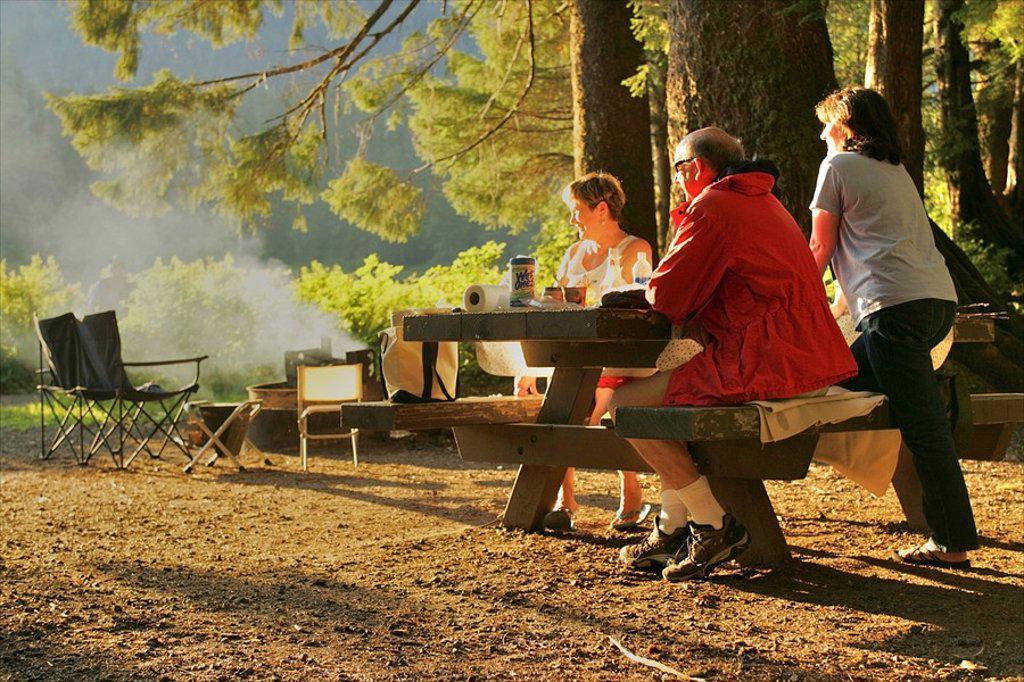 Stock Photo: 4289-28552 Visitors enjoy a picnic at Ward Lake near Ketchikan, Alaska during Summer