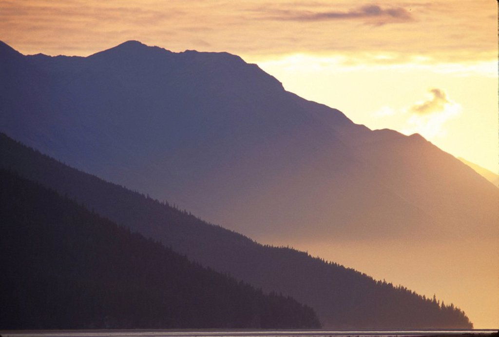 Golden Sunset Turnagain Arm Chugach Mountains Summer Southcentral Alaska : Stock Photo