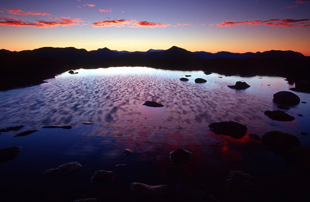Mountain top alpine pond at sunrise, Misty Fjords Monument, Southeast, Alaska. : Stock Photo