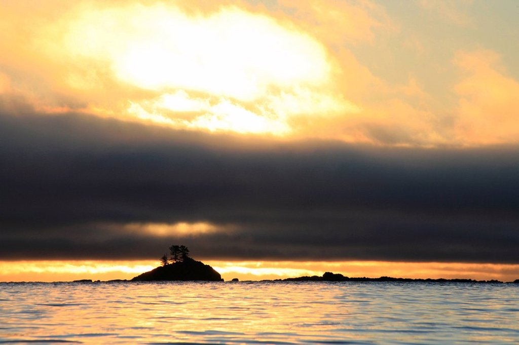 Sunrise scenic of a reef and islet off Wedge Island near Prince of Wales Island, Southeast, Alaska : Stock Photo