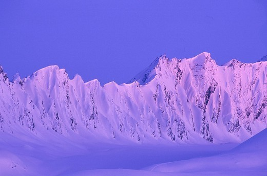 Chugach Mtns Thompson Pass area near Valdez SC AK winter scenic alpenglow : Stock Photo