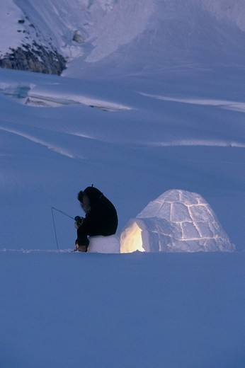 Stock Photo: 4289-30840 Igloo Eskimo Fishing Ruth Glacier Interior Winter AK