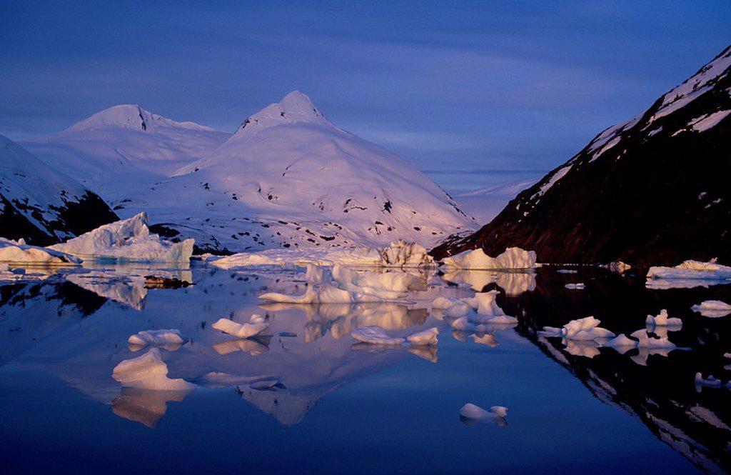 Stock Photo: 4289-30996 Icebergs in Portage Lake Bard Peak Chugach Mtns. SC Winter