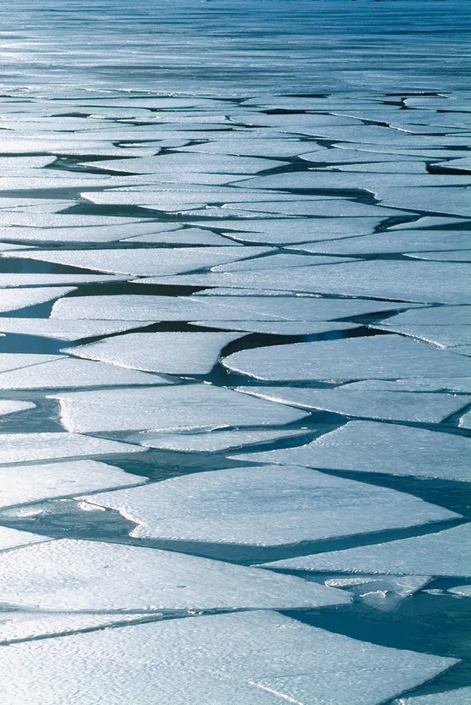 Stock Photo: 4289-31674 Winter ice layer on Portage Lake breaking up w/spring thaw Southcentral Alaska Portage Valley