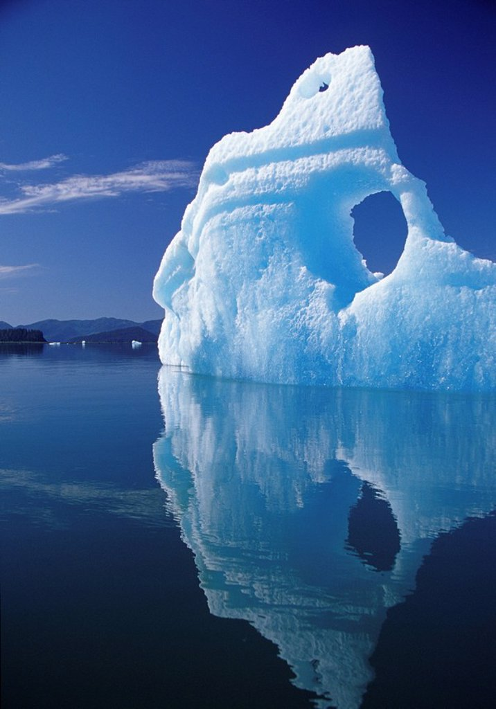 Stock Photo: 4289-31766 Huge iceberg with hole, LeConte Bay, Southeast, Alaska.