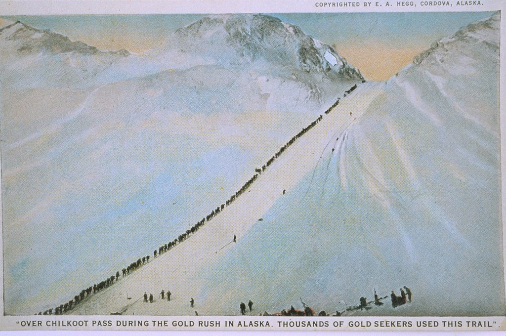 Stock Photo: 4289-33793 Gold Seekers headed over Chilkoot Pass AK 1898