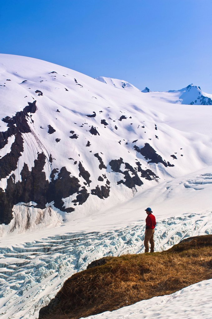 Stock Photo: 4289-34663 Male hiker overlooks Exit Glacier and the Harding Icefield from a ledge on Harding Icefield Trail, Kenai Fjords National Park, Kenai Peninsula, Southcentral Alaska, Spring