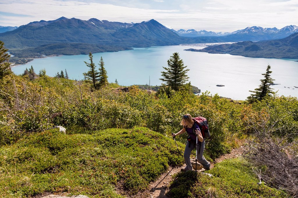 Stock Photo: 4289-38070 Female Hiking The Skilak Lookout Trail Overlooking Skilak Lake In The Kenai National Wildlife Refuge Kenai Peninsula Southcentral Alaska; Alaska United States Of America