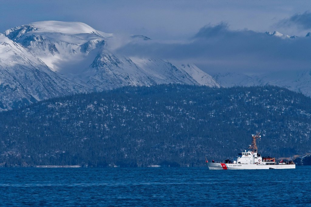 U.S. Coast Guard boat in Southeast Alaska, Summer : Stock Photo