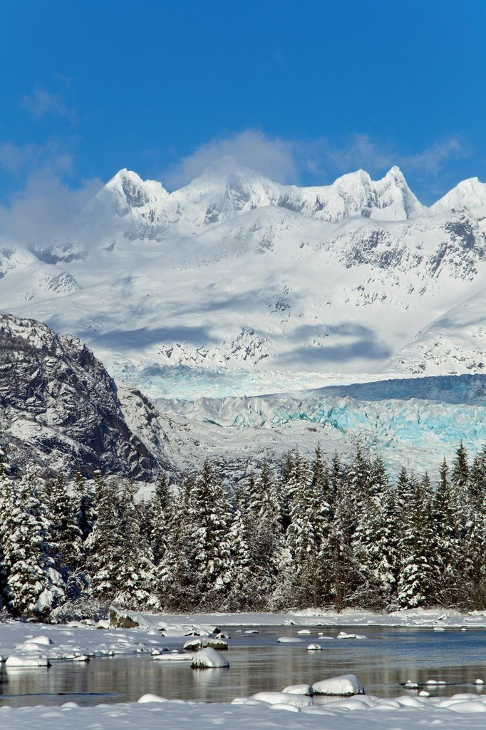 Scenic winter landscape of Mendenhall River, Mendenhall Glacier and Towers, Tongass National Forest, Southeast Alaska : Stock Photo
