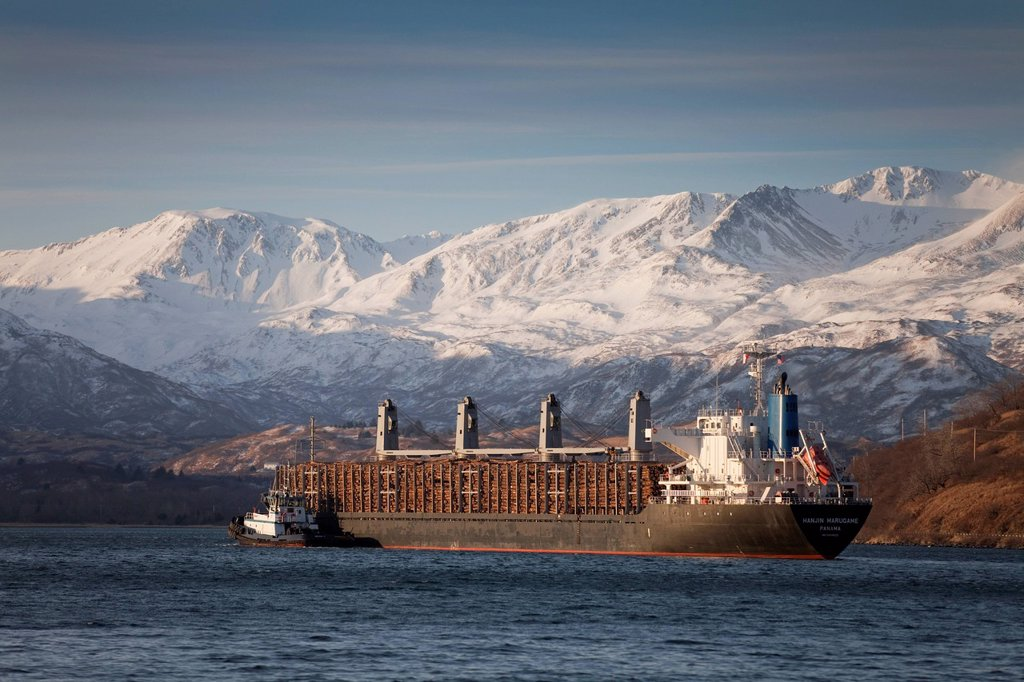 Stock Photo: 4289-9638 Panamanian ship Hanjin Marugame, assisted by a tug boat, departs Womens Bay, Kodiak Island, Southwest Alaska, Autumn