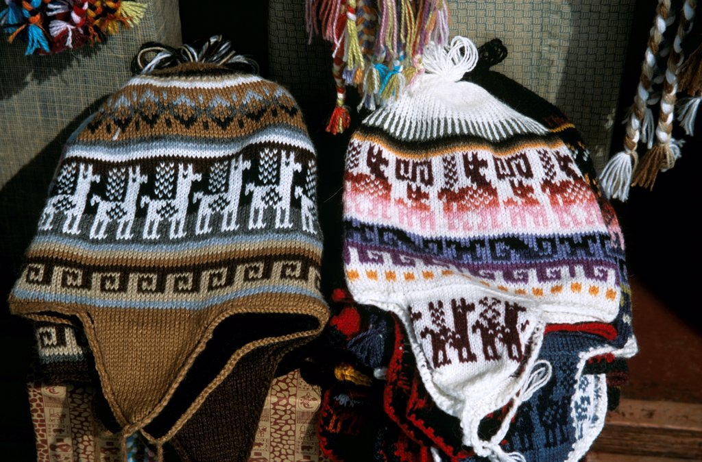 Woollen knitted hats on stall, Indian Market, Lima, Peru : Stock Photo