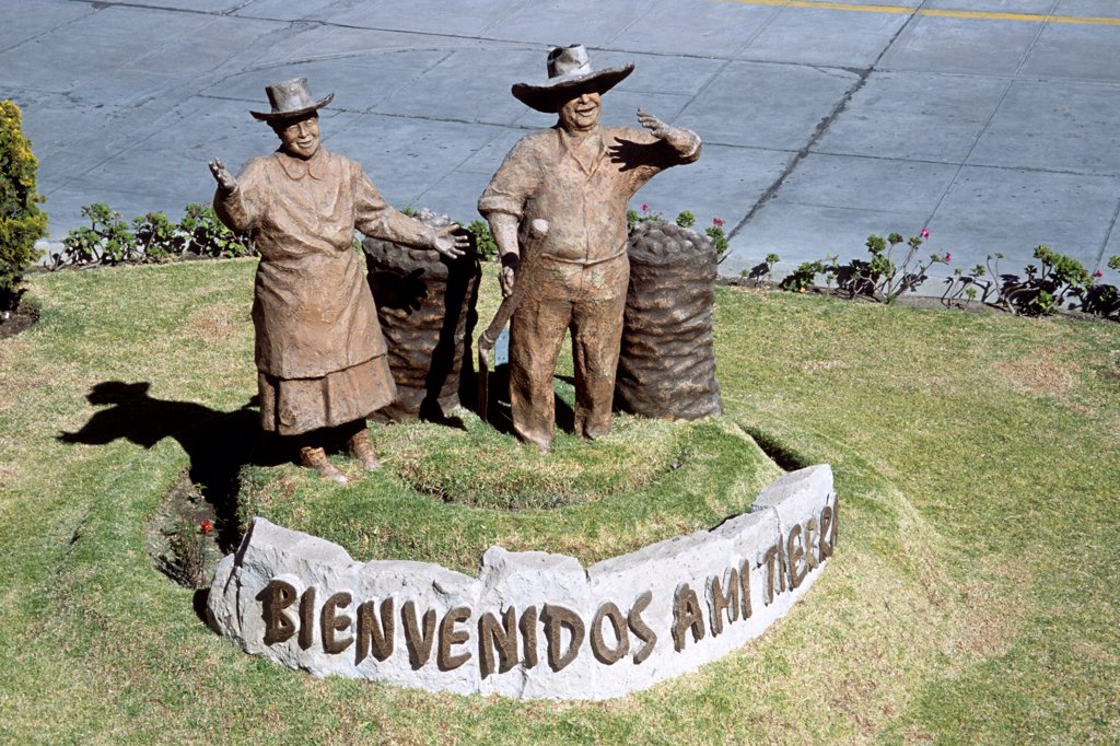Stock Photo: 4290-10037 Bienvenidos a mi tierra statue, (Welcome to my country), Alfredo Rodriguez Ballon Airport, Arequipa, Peru