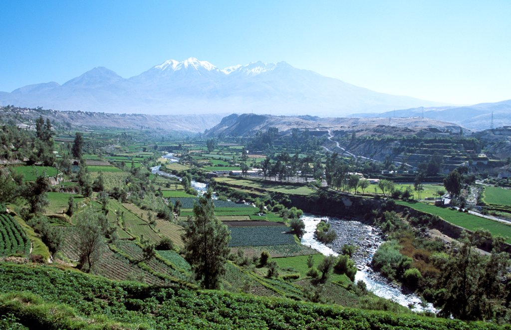 Chachani Mountain, River Chili and valley, near Arequipa, Peru : Stock Photo