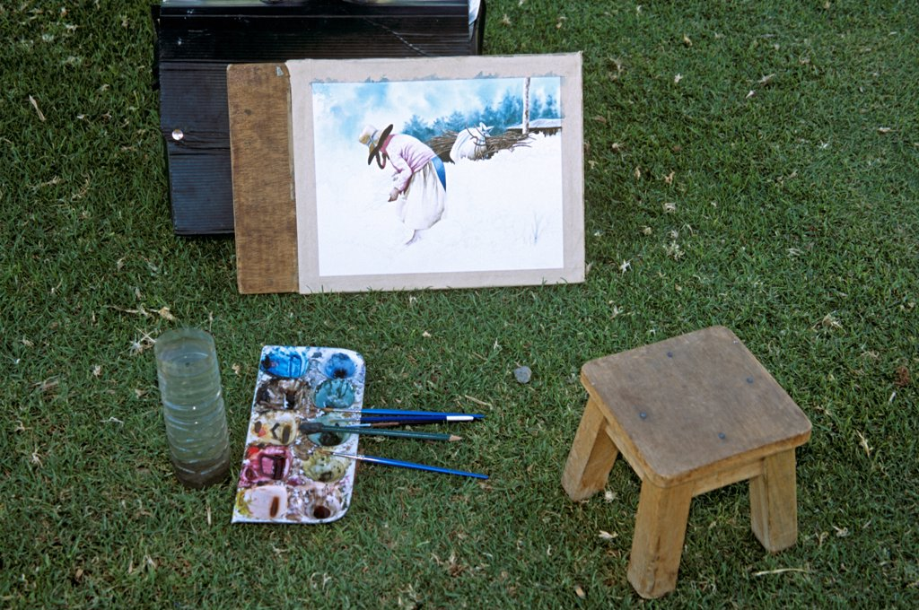 Stock Photo: 4290-10073 Painting, stool and artist's palette on a lawn, near Arequipa, Peru