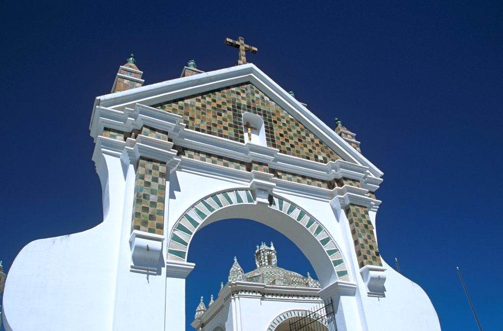 Arch in courtyard of Virgin of Copacabana Church, Copacabana, Lake Titicaca, Bolivia : Stock Photo