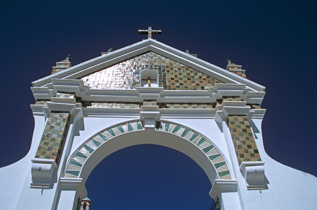 Archway, Virgin of Copacabana Church, Copacabana, Lake Titicaca, Bolivia : Stock Photo