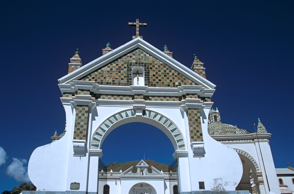 Stock Photo: 4290-10108 Archway, Virgin of Copacabana Church, Copacabana, Lake Titicaca, Bolivia