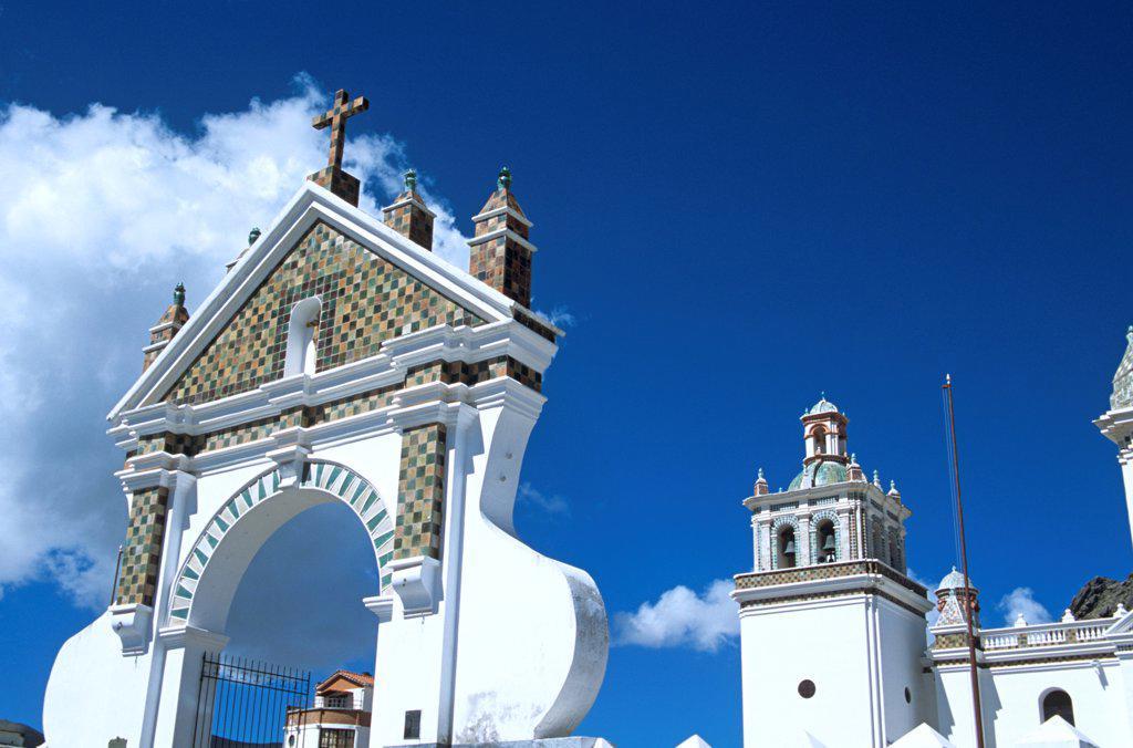 Arch and bell tower, Virgin of Copacabana Church, Copacabana, Lake Titicaca, Bolivia : Stock Photo