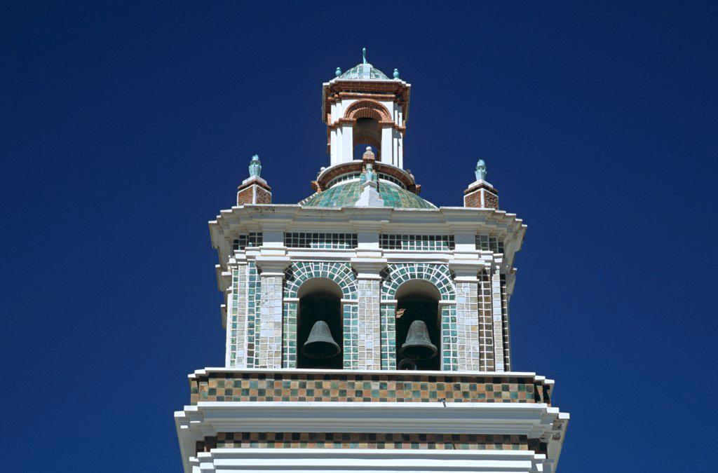 Bell tower, Virgin of Copacabana Church, Copacabana, Lake Titicaca, Bolivia : Stock Photo