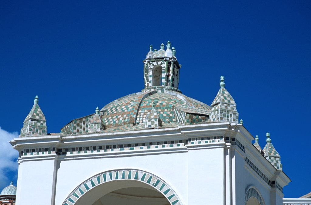Dome above arch, Virgin of Copacabana Church, Copacabana, Lake Titicaca, Bolivia : Stock Photo