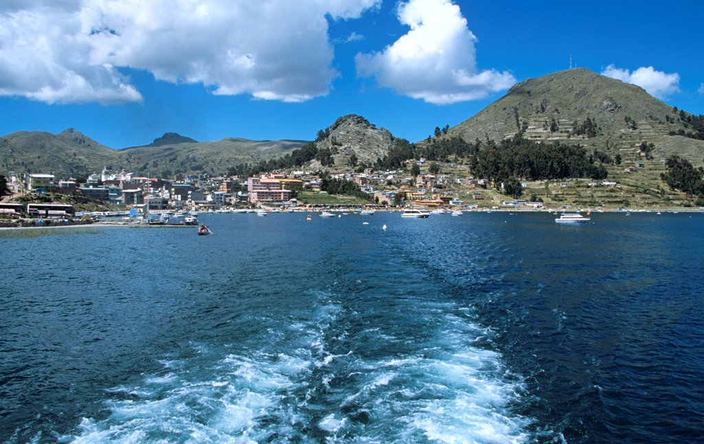 Stock Photo: 4290-10113 View of Copacabana town from boat on Lake Titicaca, Copacabana, Bolivia