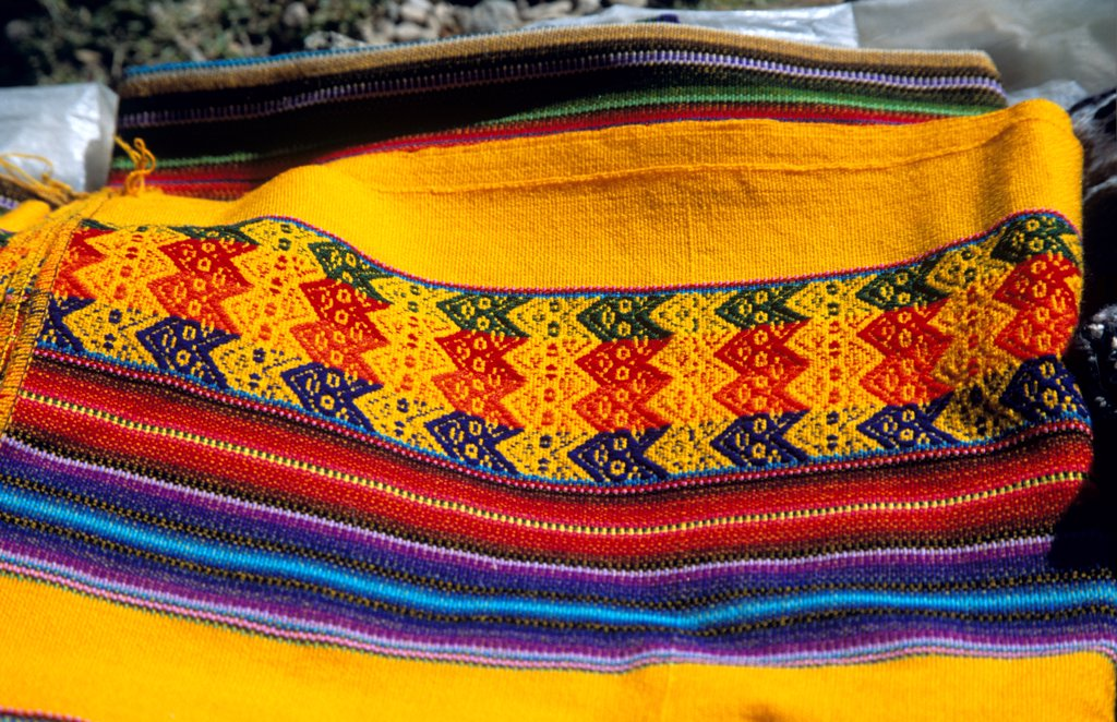 Stock Photo: 4290-10121 Colourful woven blanket, Sun Island, Inti Wata Cultural Complex, Lake Titicaca, near Copacabana, Bolivia