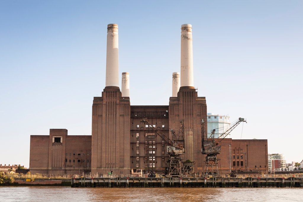 Stock Photo: 4290-10187 Battersea Power Station beside the River Thames, Battersea, London, England