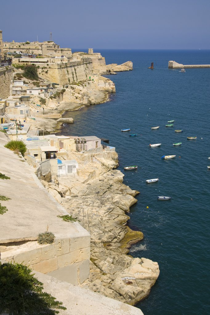 Stock Photo: 4290-1200 View of coastline and Fort Elmo, Valletta, Malta