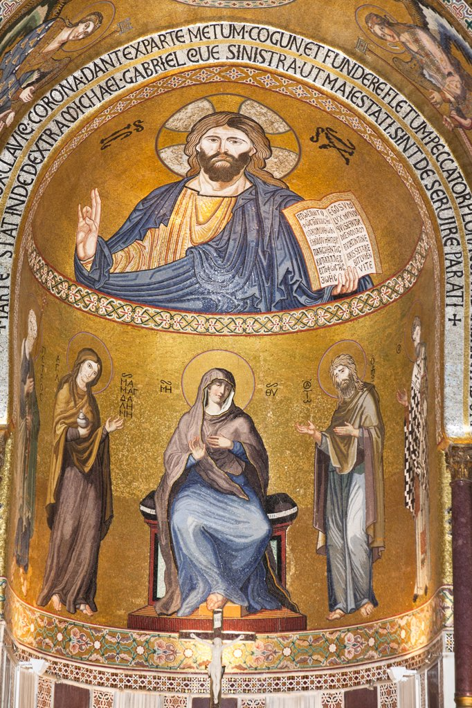 Jesus Christ mosaic in the apse, Cappella Palatina, Palazzo dei Normanni, Palermo, Sicily, Italy : Stock Photo