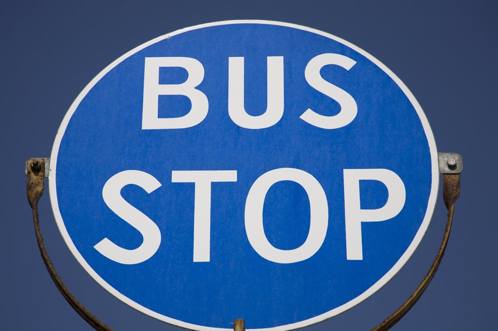 Stock Photo: 4290-1514 Bus stop sign, Valletta, Malta