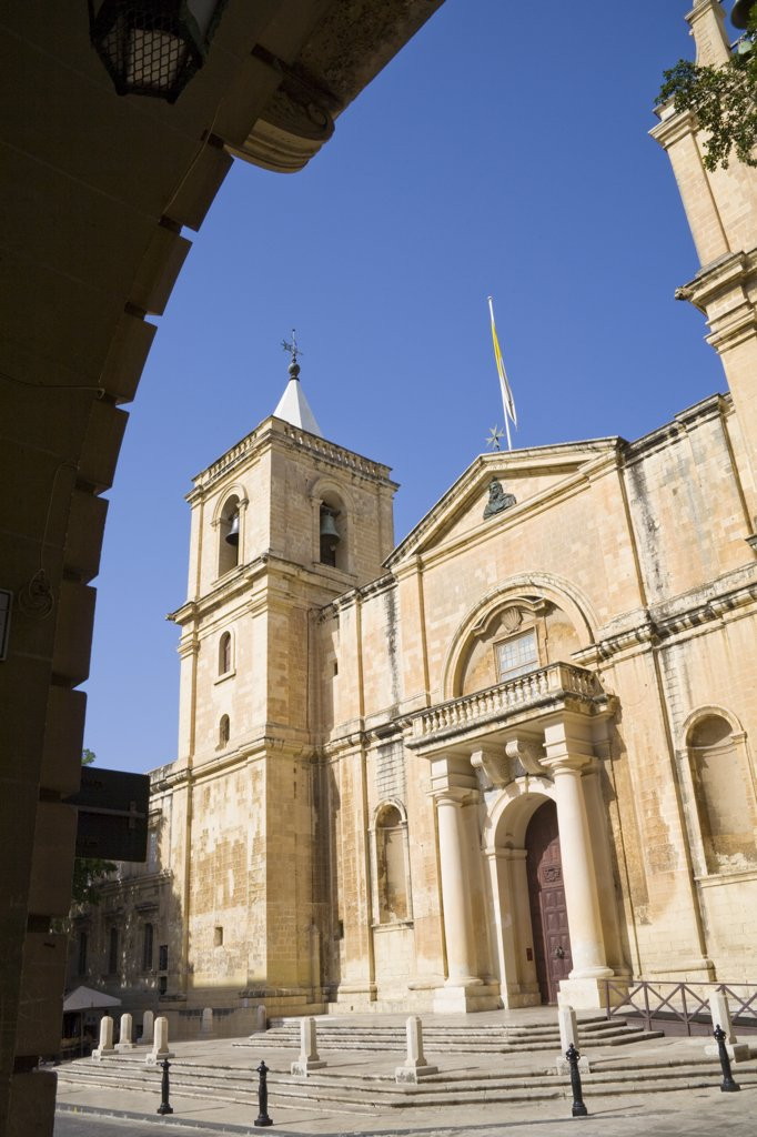 Stock Photo: 4290-1531 Saint John's Catholic Cathedral, through archway, Saint John's Square, Valletta, Malta