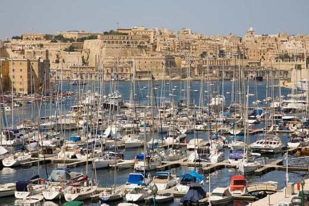 Stock Photo: 4290-1576 View of Grand Harbour Marina, Vittoriosa, Valletta, Malta
