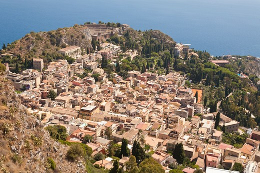 View of the town of Taormina, and Greek Theatre, Sicily, Italy : Stock Photo