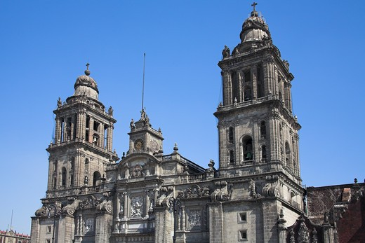 Stock Photo: 4290-1659 Catedral Metropolitana, Metropolitan Cathedral, Zocalo, Plaza de la Constitucion, Mexico City, Mexico
