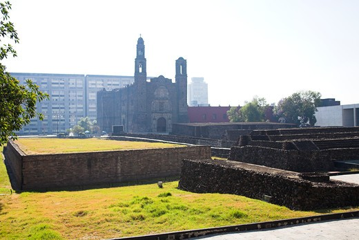 Stock Photo: 4290-1768 Plaza de las Tres Culturas, Square of the Three Cultures, site of ancient city of Tlatelolco, Mexico City, Mexico