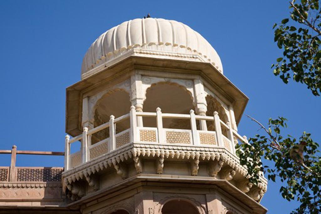 Stock Photo: 4290-1777 Tower detail, Shri Raj Ratan Bihari Mandir Temple, Bikaner, Rajasthan, India