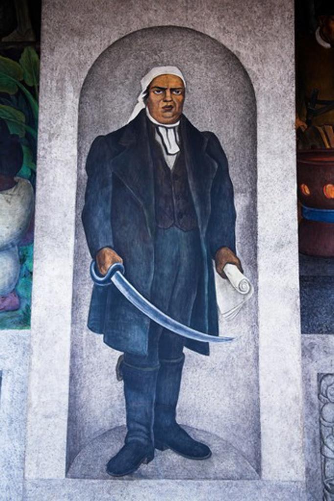 Stock Photo: 4290-1960 Mural outside, Museo Regional Cuauhnahuac, Palacio de Cortes, Cortes Palace, Plaza de Armas, Cuernavaca, Morelos State, Mexico