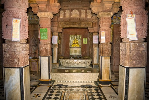 A shrine inside Mahavira Jain Temple, Osian, near Jodhpur, Rajasthan, India : Stock Photo