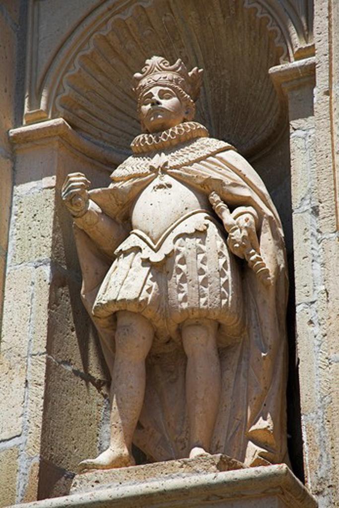 Stock Photo: 4290-2133 Statue and wall detail, Basilica de Nuestra Senora de la Soledad, Oaxaca, Oaxaca State, Mexico