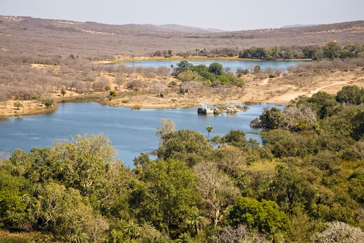 Stock Photo: 4290-2165 View of Padam Talao Lake from Ranthambhore Fort, Ranthambhore National Park, Rajasthan, India