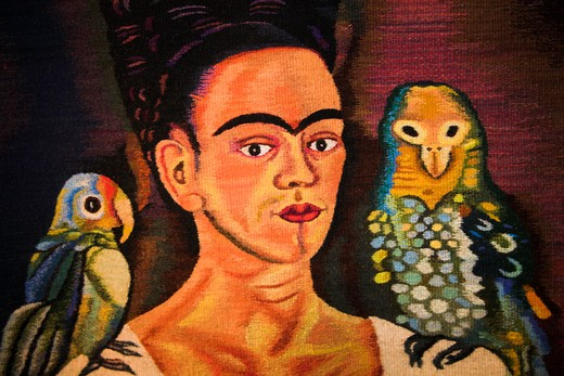 Colourful hand made carpet depicting Frida Kahlo, Teotitlan del Valle, near Oaxaca, Oaxaca State, Mexico : Stock Photo
