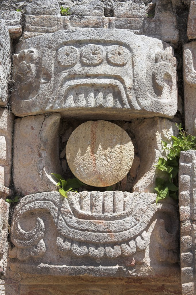 Stone carving, Palace of the Masks, Codz Poop, Kabah Archaeological Site, Kabah, near Uxmal, Yucatan State, Mexico : Stock Photo