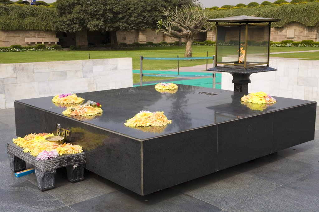 Raj Ghat Memorial to Mahatma Gandhi, New Delhi, Delhi, India : Stock Photo