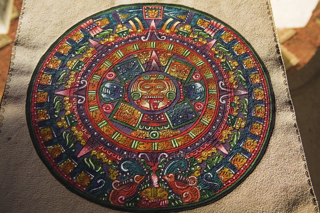 Aztec calendar on leather, Chichen Itza Archaeological Site, Chichen Itza, Yucatan State, Mexico : Stock Photo