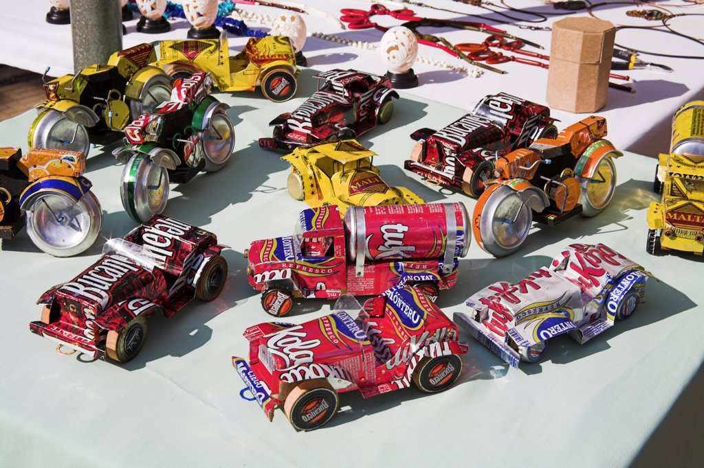 Stock Photo: 4290-2618 Toy vehicles made from used tin cans on a market stall in the Craft Market, Guardalavaca, Holguin Province, Cuba