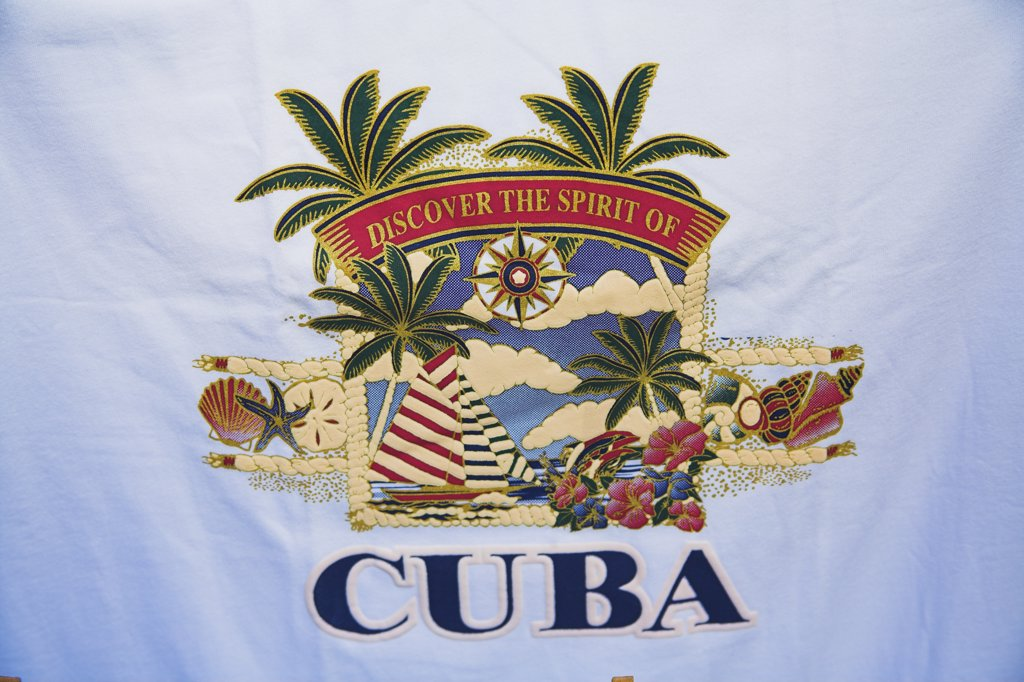 Stock Photo: 4290-2623 Cuban T-shirt in the Craft Market, Guardalavaca, Holguin Province, Cuba